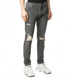 Balmain Grey Distressed Slim-Fit Jeans