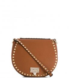 Brown Rockstud Medium Crossbody