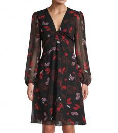 Diane Von Furstenberg Black Chiffon Flare Dress
