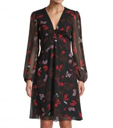 Diane Von Furstenberg Black Chiffon Flare Dress