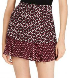 Michael Kors Garnet Printed Ruffle Mini Skirt