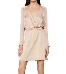 BCBGMaxazria Bare Pink Satin Drawstring Mini Dress