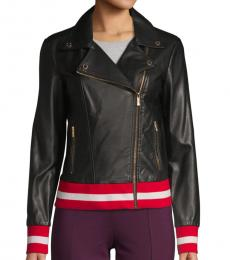 Calvin Klein Black Faux Leather Moto Jacket