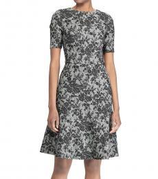 BlackWhite Floral Short-Sleeve Dress