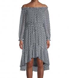Diane Von Furstenberg Blue OffShoulder High-Low Dress