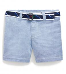 Baby Boys Blue Belted Stretch Oxford Shorts
