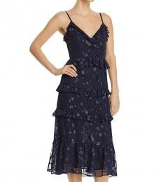 Michael Kors True Navy Metallic Ruffled Dress