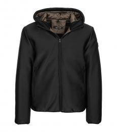 Black Solid Zip Up Jacket
