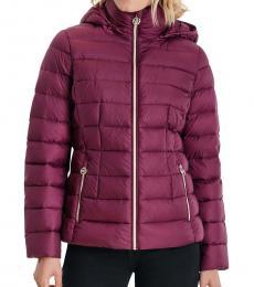 Michael Kors Dark Ruby Packable Down Puffer Jacket