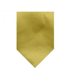 Burberry Gold Neat Plaid Print Silk Tie