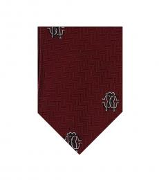 Maroon Herringbone Tie