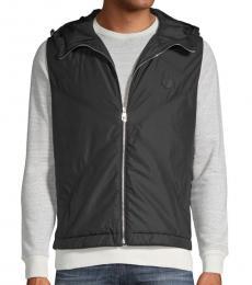 Versace Collection Black Zip-Front Hooded Vest