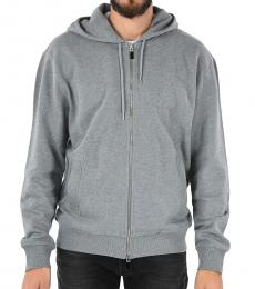 Grey Printed Hooded Sweatshirt
