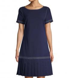 Navy Blue Roundneck Sheath Dress