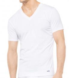 Michael Kors White Cotton V-Neck T-Shirt