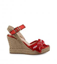 Love Moschino Red Logo Print Wedges