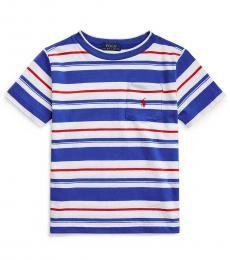 Ralph Lauren Little Boys Travel Blue Multi Striped T-Shirt