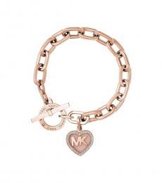 Michael Kors Rose Gold Logo Heart Charm Bracelet