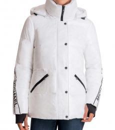 Michael Kors White Hooded Packable Puffer Jacket