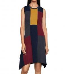 BCBGMaxazria Port Combo Asymmetrical Colorblock Sweaterdress