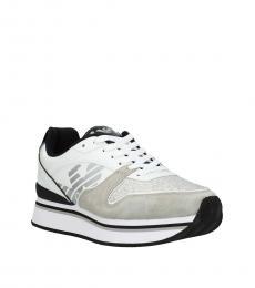 Emporio Armani White Grey Side Logo Sneakers