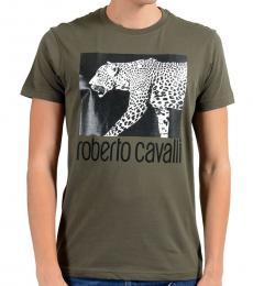 Roberto Cavalli Olive Graphic Leopard T-Shirt