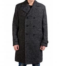 Dolce & Gabbana Black White Silk Double Breasted Coat