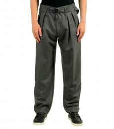Hugo Boss Grey Pleated Belted Casual Pants