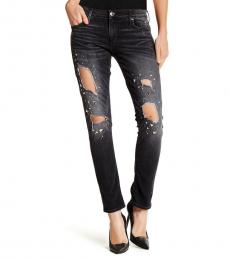 True Religion Black Smog Distressed Skinny Jeans