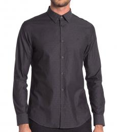 Black Dobby Stretch Fit Sports Shirt
