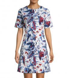 Diane Von Furstenberg White Floral-Print Mini Dress