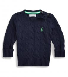Ralph Lauren Baby Boys Blue Cable-Knit Sweater
