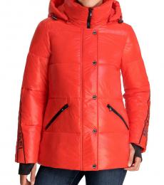 Michael Kors Bright Red Hooded Packable Puffer Jacket