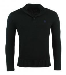 Ralph Lauren Black Button Mock Neck Sweater