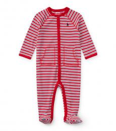 Baby Boys Red Striped Coverall