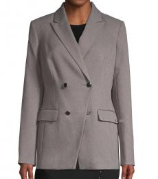 Calvin Klein Grey Textured Double-Breasted Jacket