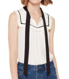 Kate Spade French Cream Tie Neck Shell Top