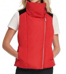 DKNY Red Velvet-Trim Puffer Vest
