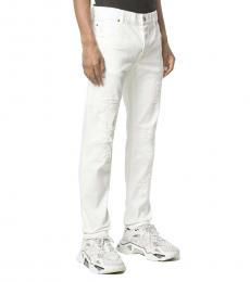 Balmain White Distressed Slim-Fit Jeans