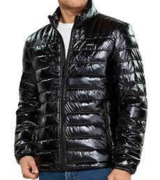 Pearlized Black Packable Puffer Jacket