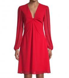 Red Twist Bodice Dress