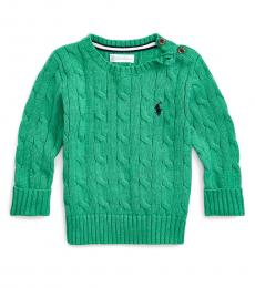 Ralph Lauren Baby Boys Green Cable-Knit Sweater