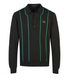 Black Long Sleeve Logo Polo