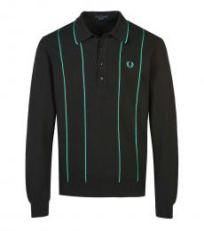 Fred Perry Black Long Sleeve Logo Polo