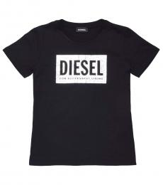 Diesel Girls Black TFOIL Crewneck T-Shirt