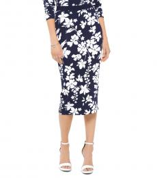 Michael Kors Navy Floral Pencil Skirt