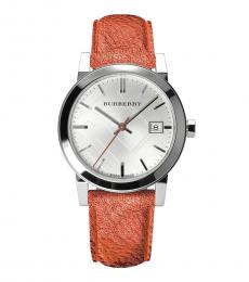 Burberry Rust Leather Strap Watch