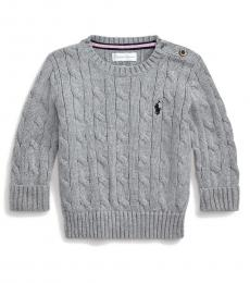 Ralph Lauren Baby Boys Grey Cable-Knit Sweater