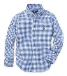 Little Boys Blue Gingham Poplin Shirt