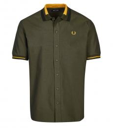 Fred Perry Olive Short Sleeve Logo Shirt